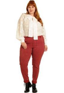 Camisa Plus Size Manga Longa Gola Laço Estrelada Feminina - Feminino-Branco