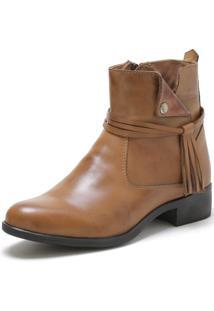 Bota Cano Curto Over Boots Urbana Couro Caramelo