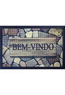 Capacho Fenice Estampado Colorful Bella Casa 60Cmx40Cm Marrom
