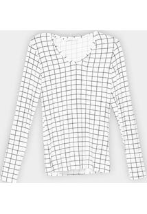 Blusa Lez A Lez Estampada Manga Longa Feminina - Feminino-Preto+Branco