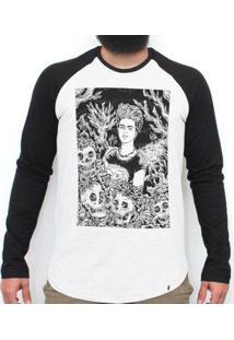 Frida Rogai Por Nós Iii - Camiseta Raglan Manga Longa Masculina