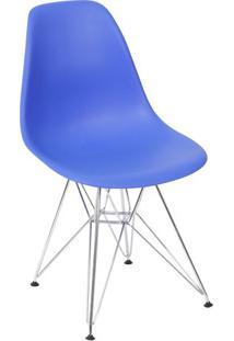 Cadeira Eames Dkr- Azul Escuro & Prateada- 80,5X46,5Or Design