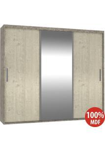 Guarda Roupa 3 Portas C 1 Espelho 100% Mdf 1986E1 Demol/Marfim Areia - Foscarini