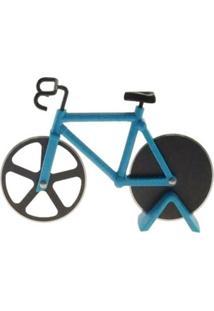 Cortador De Pizza Bicicleta Decorativo Cor Azul Metal 12X18