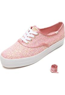 Tênis Sola Alta Keds Glitter Rosa