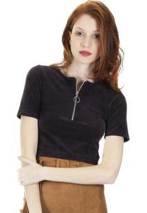 Blusa Cropped Veludo Cotelê Com Zíper