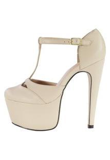 Sandália Salto 15 Week Shoes Bico Fechado Amendoa.