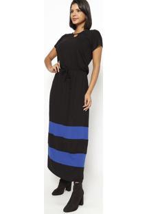 Vestido Longo Com Amarração E Faixas- Preto & Azul- Vittri