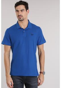 Polo Em Piquet Azul