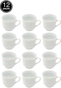Jogo De 12 Pçs Xícaras Para Café De Porcelana Branca Com Filete Dourado 90Ml Lyor