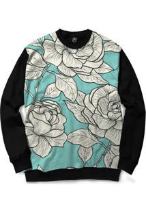 Blusa Bsc White Roses Full Print - Masculino-Preto