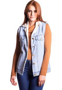 Colete Jeans Aero Jeans Com Pelo Azul - Tricae