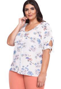 Blusa Almaria Plus Size Pianeta Estampada Branco