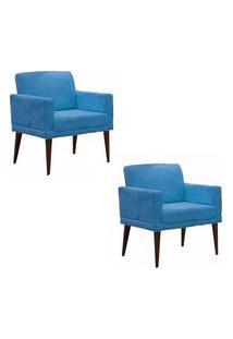 Kit 02 Poltronas Decorativas Emília Pés Palito Suede Azul - Ds Móveis