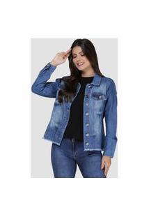 Jaqueta Jeans Zayon Desfiada Azul