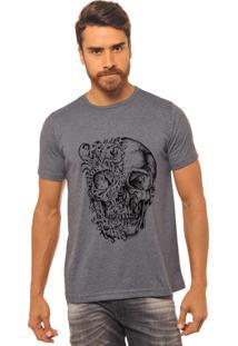 Camiseta Joss Estampada Caveira Duas Caras Chumbo