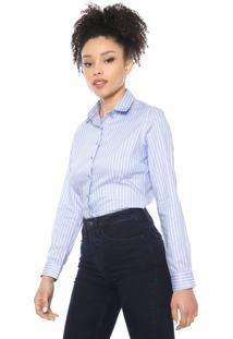 Camisa Dudalina Listrada Azul/Branca