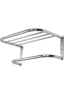 Porta Toalha De Banho Com Suporte Em Alumínio Pequeno Cromado