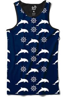 Regata Long Beach Náutica Golfinho E Âncora Sublimada Azul