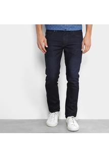 Calça Jeans Slim Aleatory Estonada Masculina - Masculino-Marinho