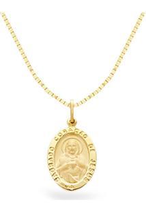 Pingente Sagrado Coração De Jesus Ouro Amarelo 18 Mm