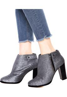 Bota Dafiti Shoes Glitter Prata