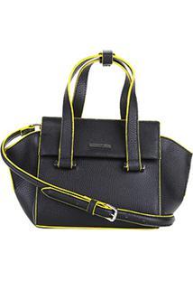Bolsa Couro Carmim Mini Bag Ester Feminina - Feminino-Preto+Amarelo