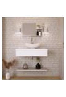 Conjunto Para Banheiro Bancada Com Cuba L42 Abaulada, Prateleira E Espelheira City 806 Branco Chess