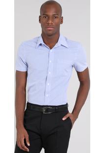 Camisa Masculina Comfort Listrada Com Bolso Manga Curta Azul