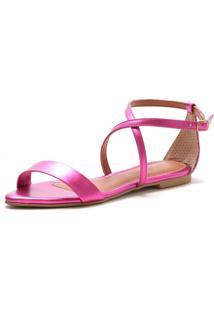 Sandália Rasteira Lafiume Fivela Metalizada Pink