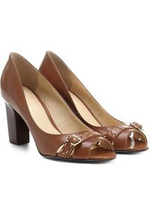 64175ab824188 ... Peep Toe Couro Shoestock Salto Grosso Fivela - Feminino-Marrom