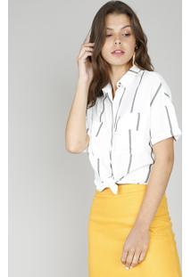 Camisa Feminina Listrada Com Fios Metalizados Manga Curta Off White