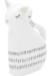 Enfeite Porcelana Little Lovely Cat Branco 3,5X6X7,3 Cm Urban - Branco - Dafiti