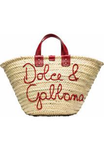 Dolce & Gabbana Bolsa Tote Com Logo Kendra Bordado - Neutro