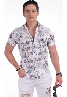 Camisa Social Horus Manga Curta Slim Floral Verde 500207