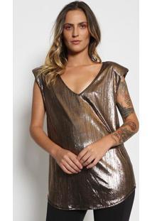 Blusa Metalizada Com Recortes- Dourada & Preta- Trittriton