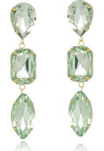 Brinco Le Diamond Cristais Verde Turmalina - Kanui