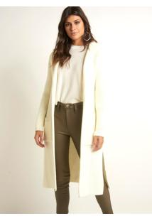 Maxi Cardigan Le Lis Blanc Bianca Ii Tricot Off White Feminino (Off-White, Pp)