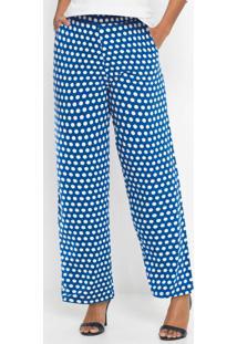 Calça De Malha Estampada Poá Azul