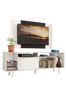 Rack Madesa Cancun E Painel Para Tv Até 58 Polegadas Com Pés - Branco/Preto 09C7 Cor:Branco/Preto