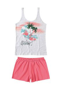 Pijama Curto Regata Flamingos Malwee Liberta (1000060056) Algodão