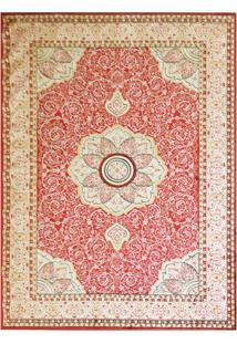 Tapete Mashhad Retangular Veludo 48X90 Cm Vermelho