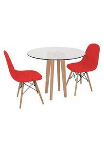 Conjunto Mesa De Jantar Em Vidro 90Cm Com Base Vértice + 2 Cadeiras Botonê - Vermelho