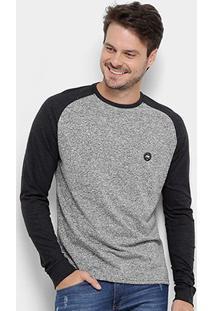 Camiseta Hd Eagle Manga Longa Masculina - Masculino-Mescla