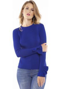 Blusa Feminina Tricô Lurex Babado Punho Pop Me Azul