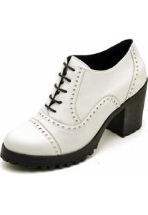 Bota Carmelo Oxford Ankle Boot Couro Branco