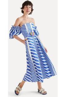 Vestido Midi Listra Bicolor Eva - Feminino
