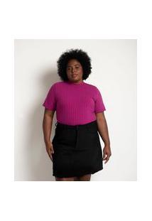 Blusa Em Ribana Com Golinha E Botões No Ombro Curve & Plus Size | Ashua Curve E Plus Size | Roxo Médio | G1