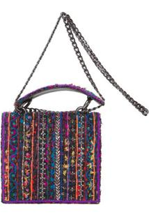 Bolsa Em Tweed Colorido Isla - Roxo