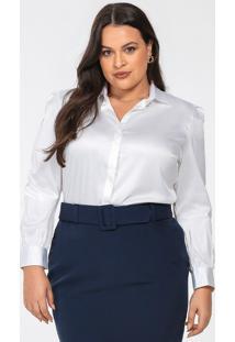 Camisa Feminina Plus Size De Cetim Off White Leslie